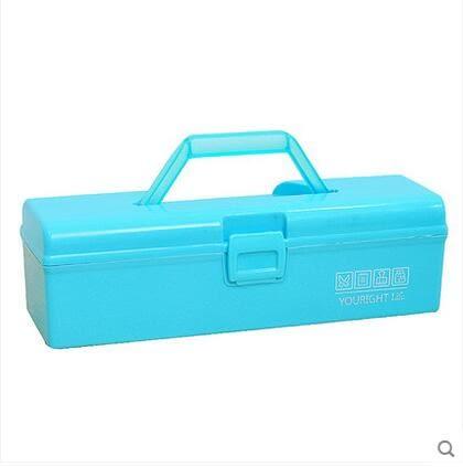 優然  炫彩帶提手收納箱醫藥箱工具箱化妝品收納盒-炫彩店(藍色 兩入)