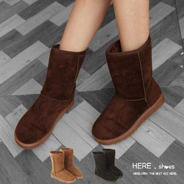 [Here Shoes]零碼36 3色 嚴選超值厚挺毛料太陽花防滑橡膠底保暖21CM中筒雪靴雪地靴─AN390
