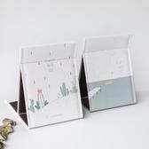 折疊台式化妝鏡 清新簡約宿舍台鏡 北歐創意可愛公主梳妝鏡子大號