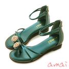 amai微奢華珍珠指環涼鞋 綠
