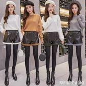 高腰皮短褲女新款韓版寬鬆羊羔毛加絨皮褲寬管褲女冬外穿 青木鋪子