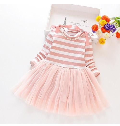 女童洋裝 條紋珍珠紗裙連身裙氣質洋裝 女孩連衣裙 88620