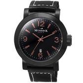【僾瑪精品】MORRIS K 經典復古大三針玫瑰金時尚腕錶-黑x玫瑰金/43mm/MK12025-TB03