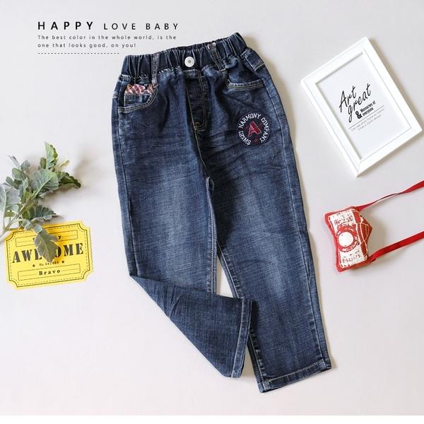 刷白美式星星國旗字母圓標刺繡牛仔褲 丹寧 藍色 後口袋 男童裝 男童長褲 男童牛仔長褲