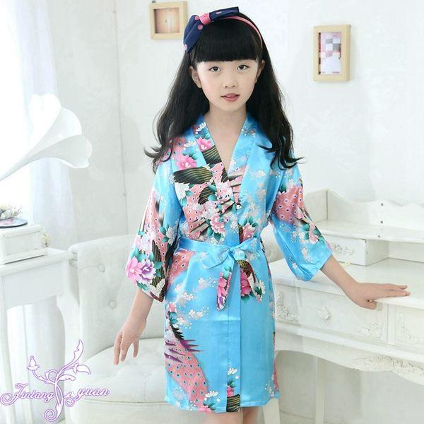 雙11購划算-兒童睡袍浴袍夏季薄款開衫孔雀睡衣仿真絲綢家居服女童睡衣開衫袍