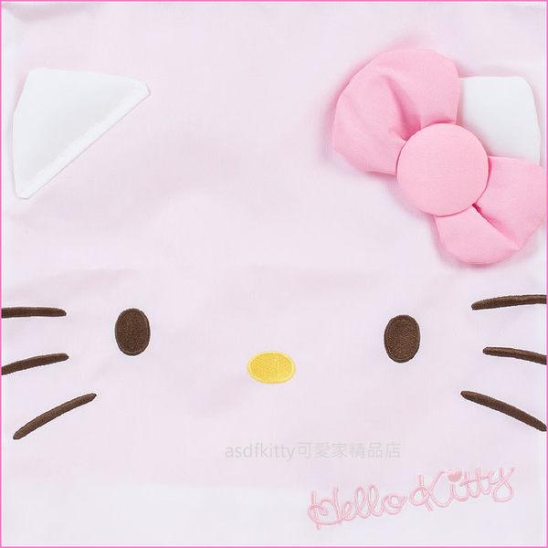 asdfkitty可愛家☆KITTY粉色大臉立體耳朵口後背包/束口袋/手提袋-野餐郊遊-輕量無負擔-日本正版商品