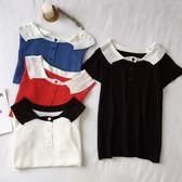 EASON SHOP(GU8217)實拍韓版假兩件前排釦針織坑條白色拼接領短袖T恤女上衣服修身顯瘦內搭衫短版貼身