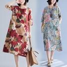 民族風復古印花長裙女新款秋季寬鬆大尺碼洋裝 顯瘦遮肚子棉麻連衣裙 降價兩天