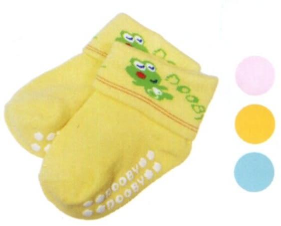 大眼蛙 反摺素色止滑襪  (藍/粉/黃)  0~2歲用 D-7803