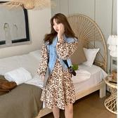 降價兩天 雪紡洋裝 早秋時尚豹紋娃娃裙寬鬆長袖雪紡連衣裙女