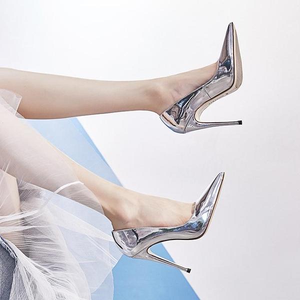 高跟鞋 卡卡妮亞性感夜場情趣恨天高銀色高跟鞋女細跟尖頭單鞋秋 新款 韓菲兒