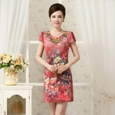 新品大尺碼印花洋裝女裝中老年人短袖媽媽裝牛奶絲雪紡中長版(L-5XL)8色可選