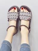 涼鞋 女夏季新款百搭平底 厚底羅馬鞋