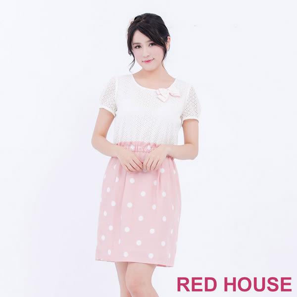 RED HOUSE-蕾赫斯-蕾絲拼接波卡點點洋裝(粉紅色)