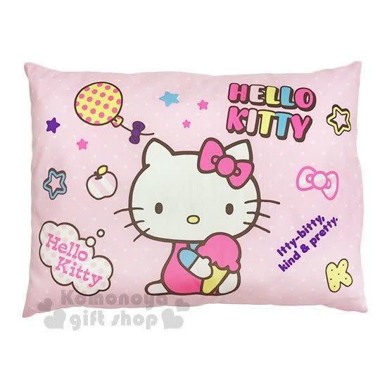 〔小禮堂〕台灣佳美 Hello Kitty 棉質嬰兒枕頭《粉.側坐.冰淇淋》寶寶枕.午睡枕 4710482-07513