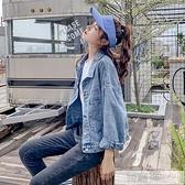 韓版百搭亮片刺繡牛仔外套女寬鬆bf春秋季2020新款上衣短款夾克潮  萬聖節狂歡