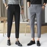 九分褲男士 修身直筒休閒褲男 小腳西褲 黑色西裝褲子男 超值價