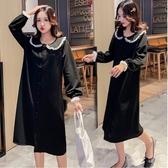 初心 知性 洋裝 【D9320】韓系 蕾絲 公主領 開扣 洋裝 長袖 蕾絲袖 洋裝