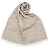 GUCCI 經典雙G紋羊毛混絲綢薄披肩圍巾(淺卡其)084081-12