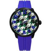 Tendence 天勢表 Gulliver 千鳥格紋立體刻度手錶-藍/51mm TY430403