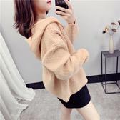 針織外套女韓版寬鬆慵懶風2020春秋新款連帽短款毛衣開衫外穿上衣