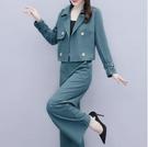 休閒套裝 秋季新品短款小外套時尚休閒顯瘦洋氣減齡闊腿褲套裝女西裝兩件套 萬圣節