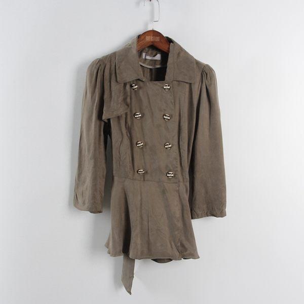 [超豐國際]三春夏裝女裝墨綠色雙排扣中長款外套 散88978(1入)