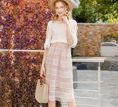 高腰半身裙夏季新款韓版蕾絲拼接網紗a字中長款裙子 QQ1869『MG大尺碼』