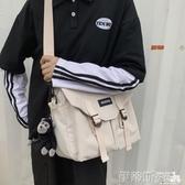 斜背包斜背包男士日系工裝挎包帆布學生郵差包ins背包女休閒側背包 伊蒂斯