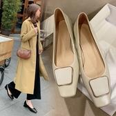 手工真皮女鞋34~40 2020新款頭層牛皮方頭方扣淺口低跟鞋 通勤鞋鞋~2色