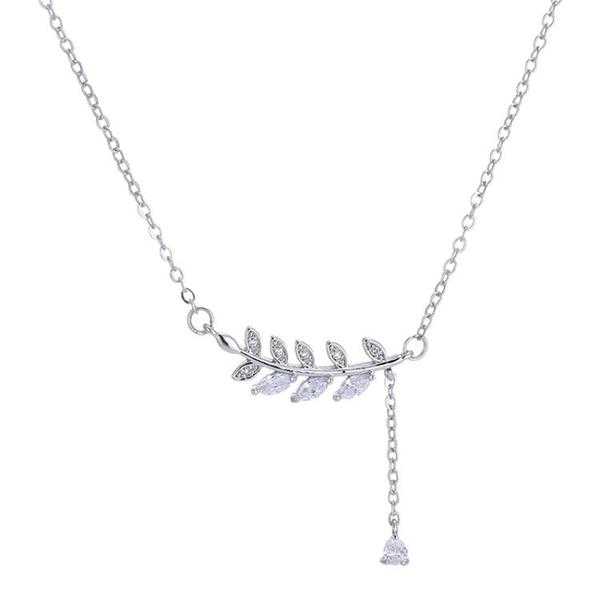 甜美樹葉流蘇吊墜學生禮物配飾 短款鎖骨項鍊女
