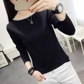 【GZ34】純棉拼接一字領上衣T恤 純色修身長袖T恤衫