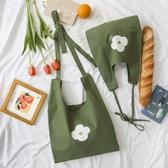 清新綠色帆布袋側背斜背大容量文藝女包包【聚寶屋】