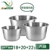 【PERFECT 理想】316不鏽鋼內鍋 3件組(6+8+10人份)附贈鍋蓋 KH-40501