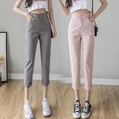 棉麻褲子女寬鬆夏季2020新款高腰亞麻直筒九分薄款顯瘦百搭休閒褲 草莓妞妞