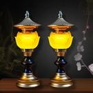 供佛燈 新款蓮花燈供佛一對家用長明燈佛前燈 三色琉璃燈led插電佛堂用品 快速出貨
