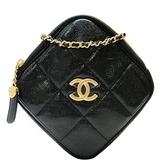 CHANEL 香奈兒 黑色粒面小牛皮肩背斜背包 鑽石包 小方包 Small Diamond Bag BRAND OFF