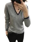 19秋冬新款羊絨衫女V領短款套頭寬鬆撞色長袖毛衣大碼針織打底衫