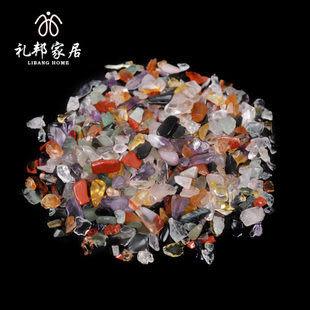天然水晶七彩碎石 消磁水晶碎石特價/2包一套裝