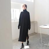 針織裙秋冬高領毛衣女寬鬆內搭加厚中長款打底連身裙過膝【小酒窩服飾】
