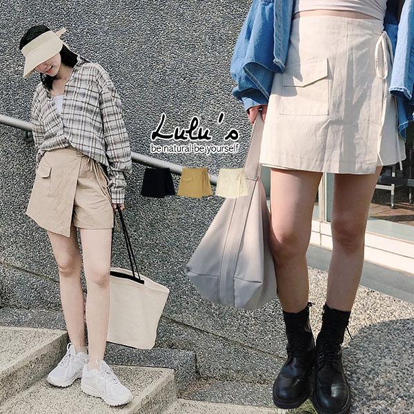 LULUS【A05200089】E假兩件-後鬆緊綁帶褲裙3色
