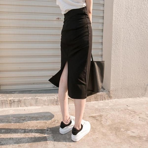 長裙 包臀半身裙高腰中長裙女鉛筆裙開叉顯瘦一步裙 萬寶屋
