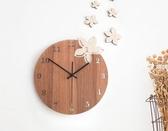 店長推薦 創意掛鐘藝術時尚石英鐘表日韓式木質時鐘太陽機芯實木簡約客廳鐘