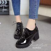 英倫風少女小皮鞋女士鞋子中跟粗跟高跟鞋學生單鞋【果果精品】