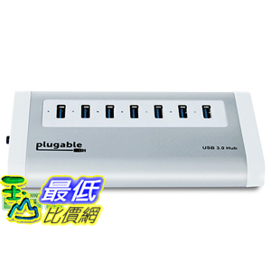 [美國直購] Plugable USB3-HUB7A 7-Port Aluminum USB 3.0 SuperSpeed Hub with 20W Power Adapter 集線器 適配器