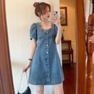 牛仔洋裝 大碼胖MM牛仔裙連身裙女夏季復古方領泡泡袖可甜可鹽顯瘦收腰裙子 寶貝 618狂歡