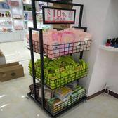 超市促銷貨架鐵藝收納雙面水果藥店商店小賣部便利店展示架帶輪子 智聯igo