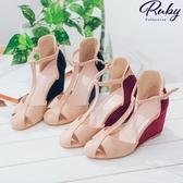 鞋子 RCha。T字繫踝撞色露趾涼鞋楔形鞋-Ruby s 露比午茶