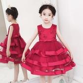 小童夏裝女童裝連身裙紅禮服公主裙7歲6蓬蓬紗裙子洋氣寶寶8網紅5