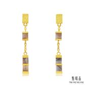 點睛品 g*collection系列 時尚方形幾何瑪瑙純金垂墜耳環